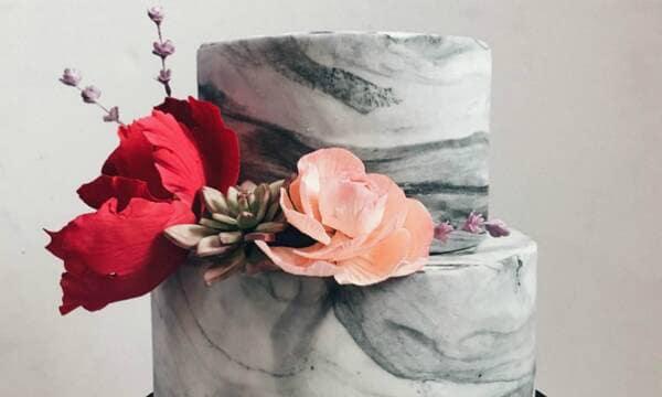 pastel boda mármol